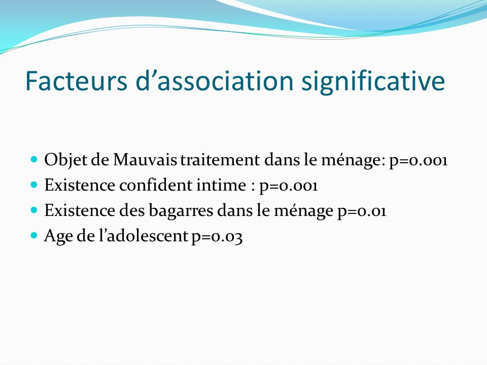 Facteurs d'association significative