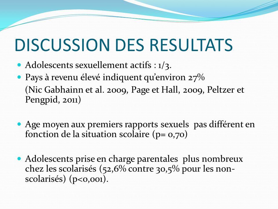 DISCUSSION DES RESULTATS