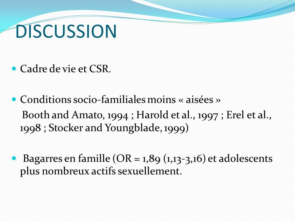 DISCUSSION Cadre de vie et CSR.