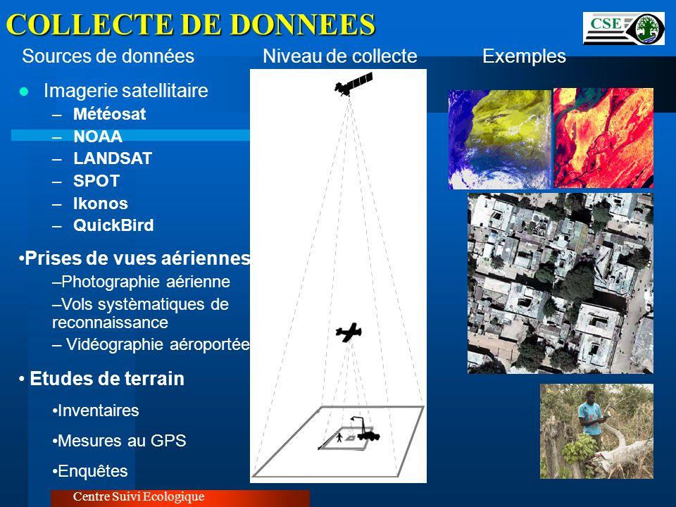 COLLECTE DE DONNEES Imagerie satellitaire Sources de données
