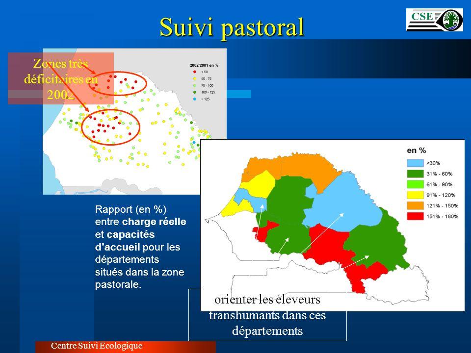 Suivi pastoral Zones très déficitaires en 2002