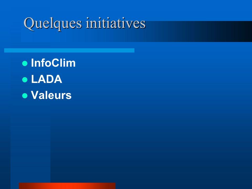 Quelques initiatives InfoClim LADA Valeurs