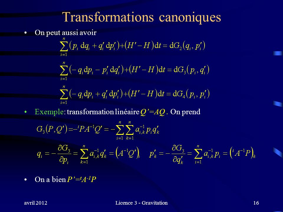 Transformations canoniques