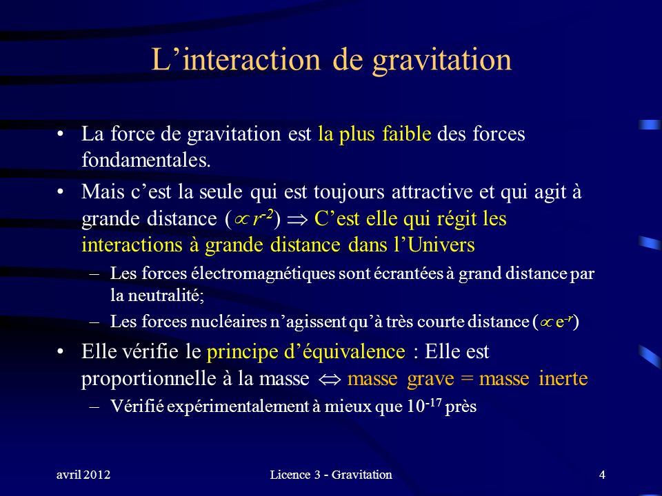 L'interaction de gravitation