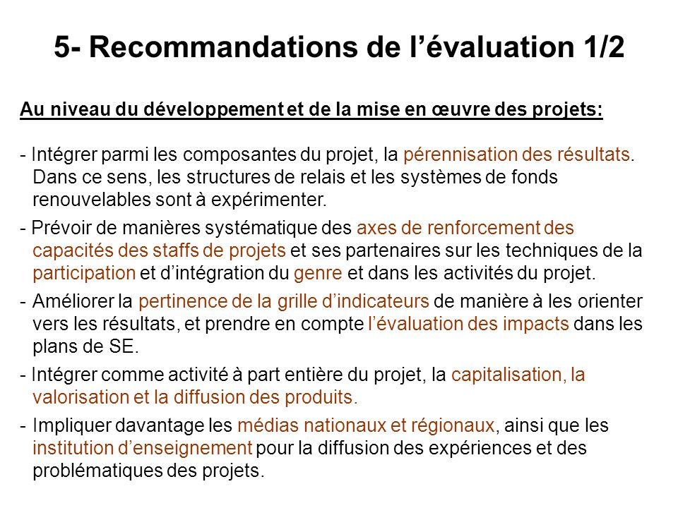 5- Recommandations de l'évaluation 1/2