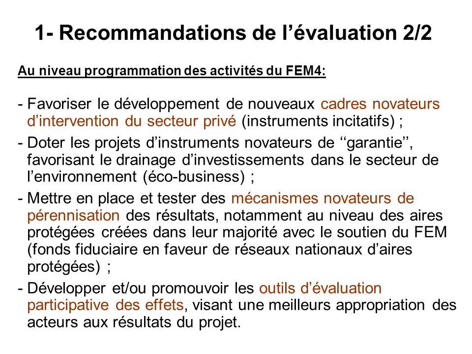 1- Recommandations de l'évaluation 2/2