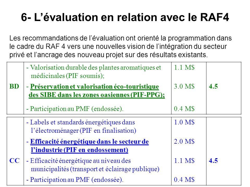 6- L'évaluation en relation avec le RAF4