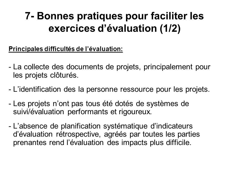 7- Bonnes pratiques pour faciliter les exercices d'évaluation (1/2)