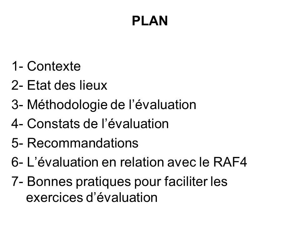 PLAN 1- Contexte 2- Etat des lieux 3- Méthodologie de l'évaluation 4- Constats de l'évaluation