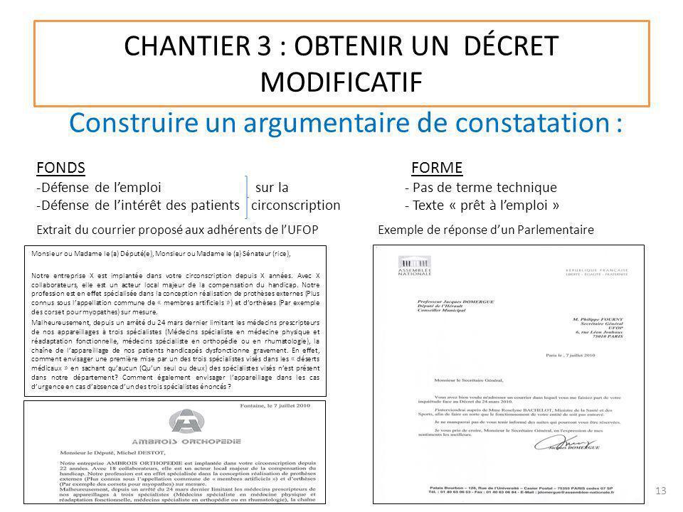 CHANTIER 3 : OBTENIR UN DÉCRET MODIFICATIF