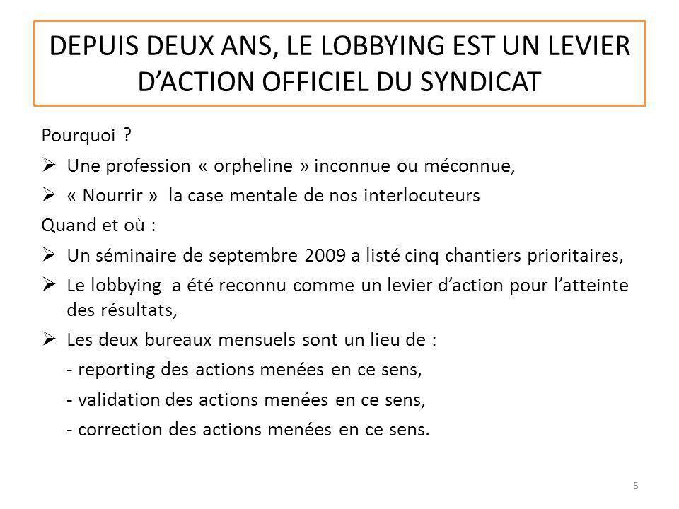 DEPUIS DEUX ANS, LE LOBBYING EST UN LEVIER D'ACTION OFFICIEL DU SYNDICAT