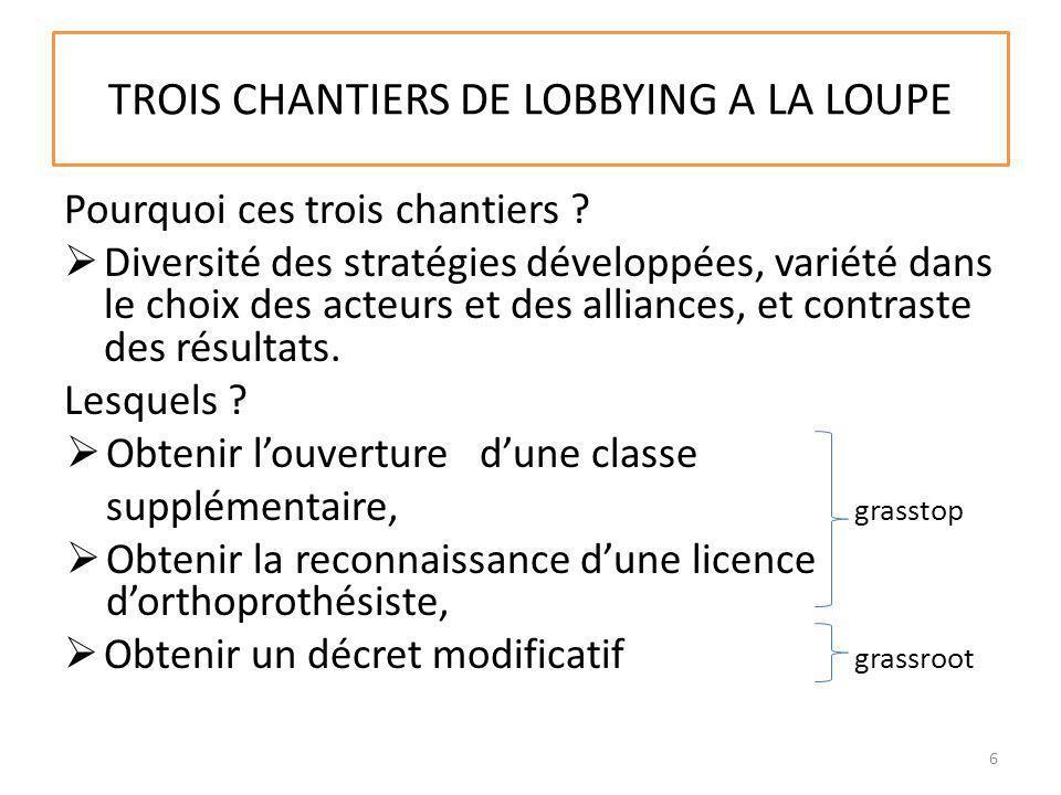 TROIS CHANTIERS DE LOBBYING A LA LOUPE