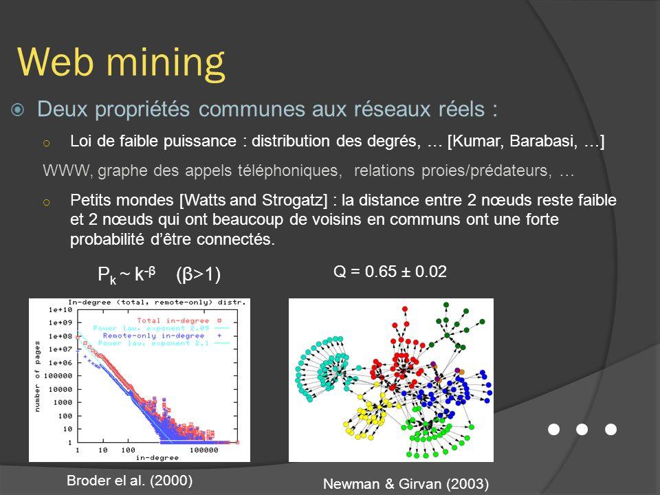 Web mining Deux propriétés communes aux réseaux réels :