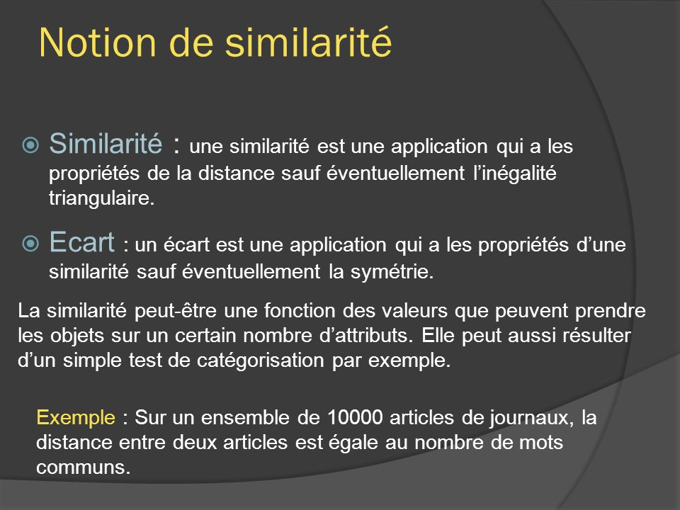 Notion de similarité
