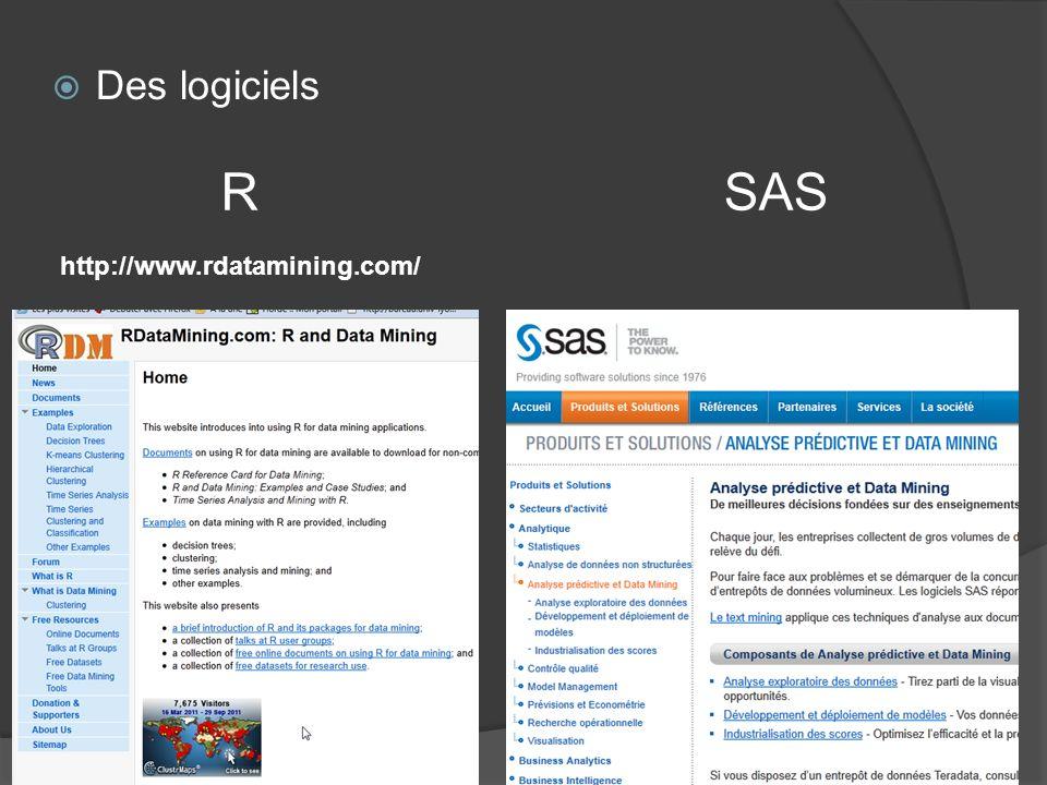 Des logiciels R SAS http://www.rdatamining.com/