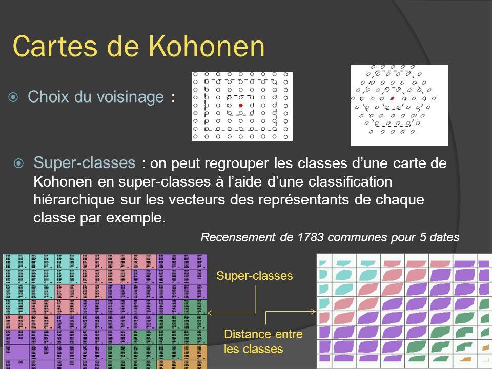 Cartes de Kohonen Choix du voisinage :
