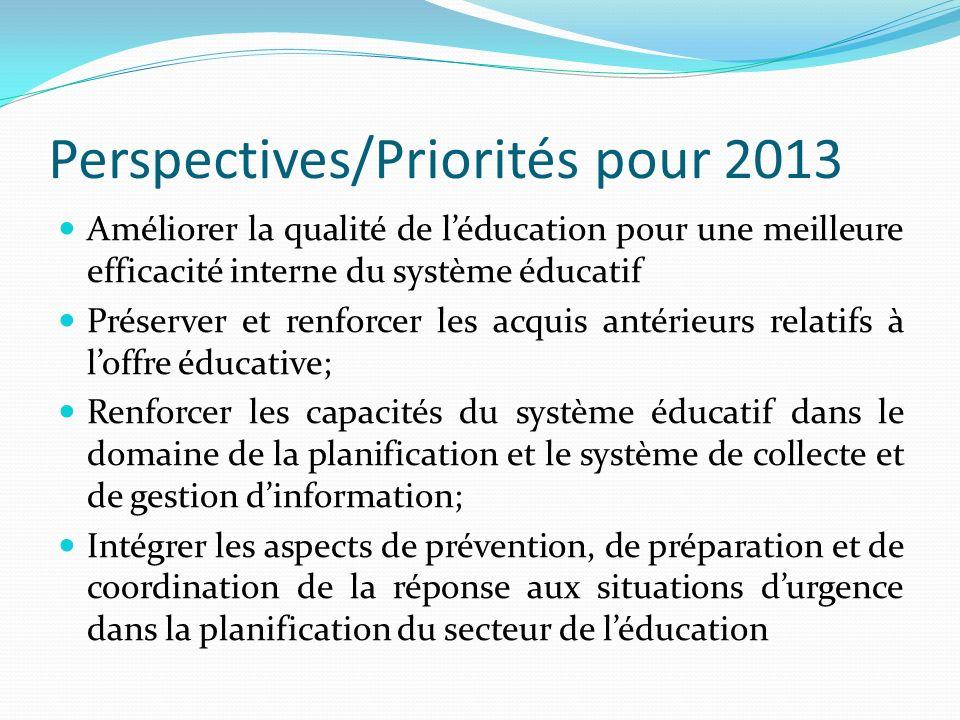 Perspectives/Priorités pour 2013