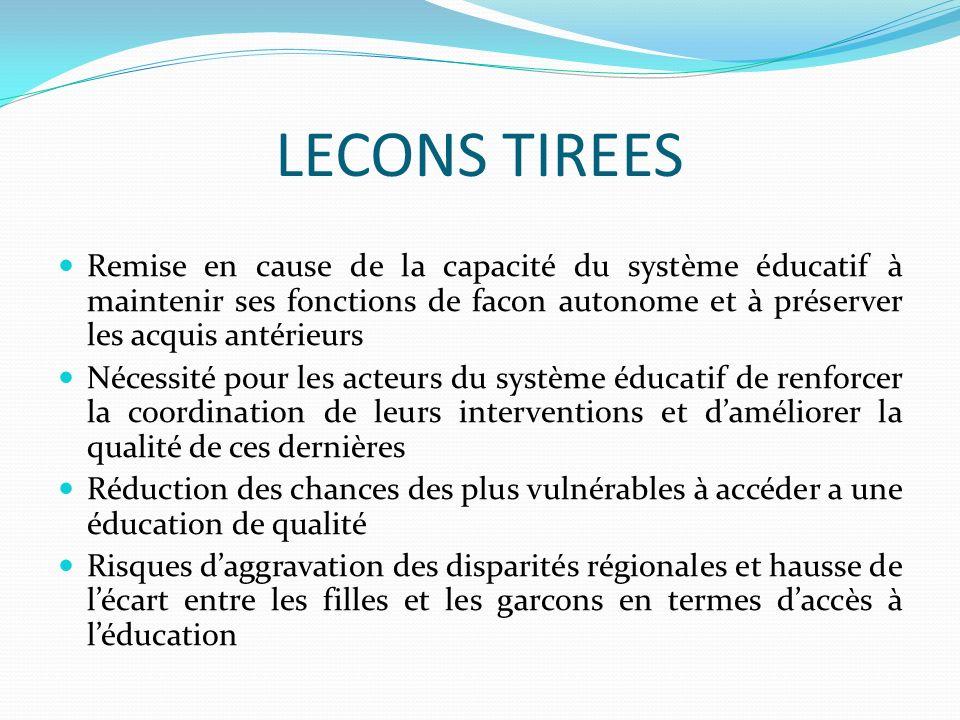 LECONS TIREES Remise en cause de la capacité du système éducatif à maintenir ses fonctions de facon autonome et à préserver les acquis antérieurs.