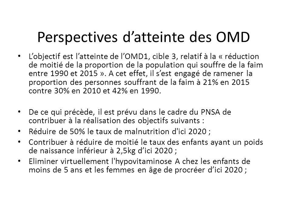 Perspectives d'atteinte des OMD