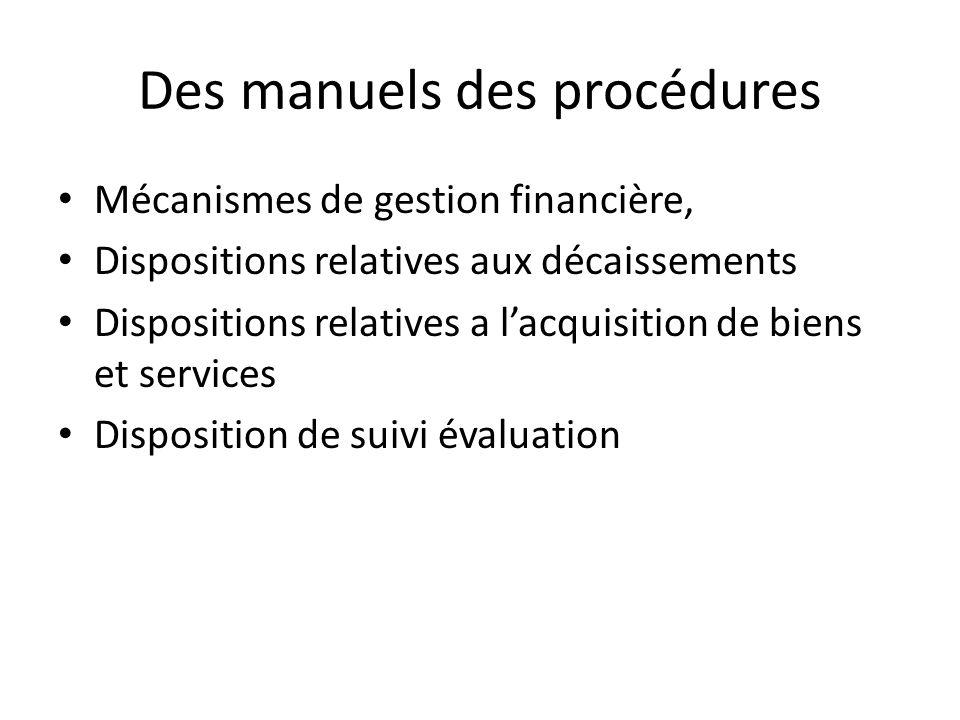 Des manuels des procédures