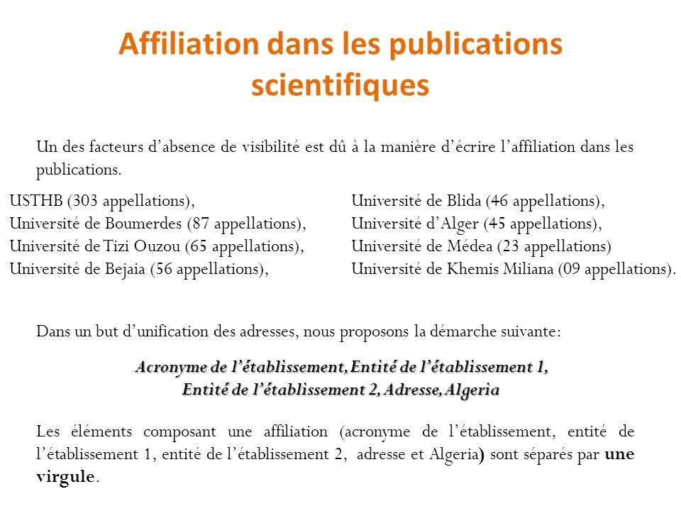 Affiliation dans les publications scientifiques