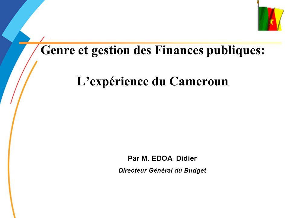 Genre et gestion des Finances publiques: L'expérience du Cameroun