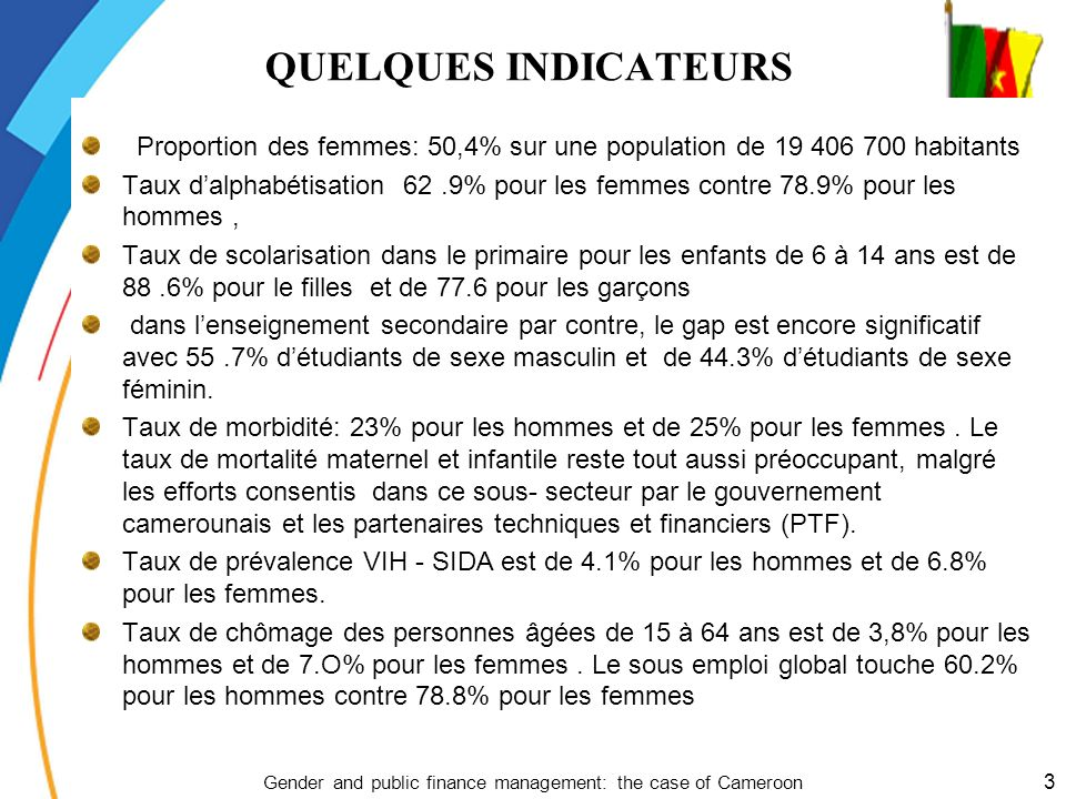 QUELQUES INDICATEURS PRESENTATION