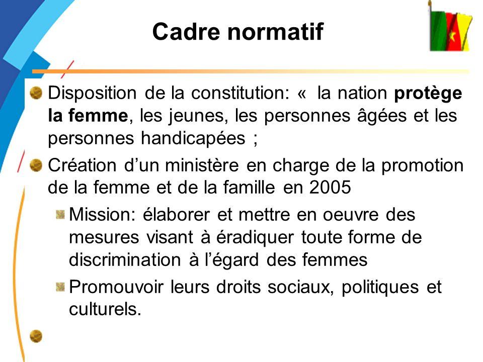Cadre normatif Disposition de la constitution: « la nation protège la femme, les jeunes, les personnes âgées et les personnes handicapées ;