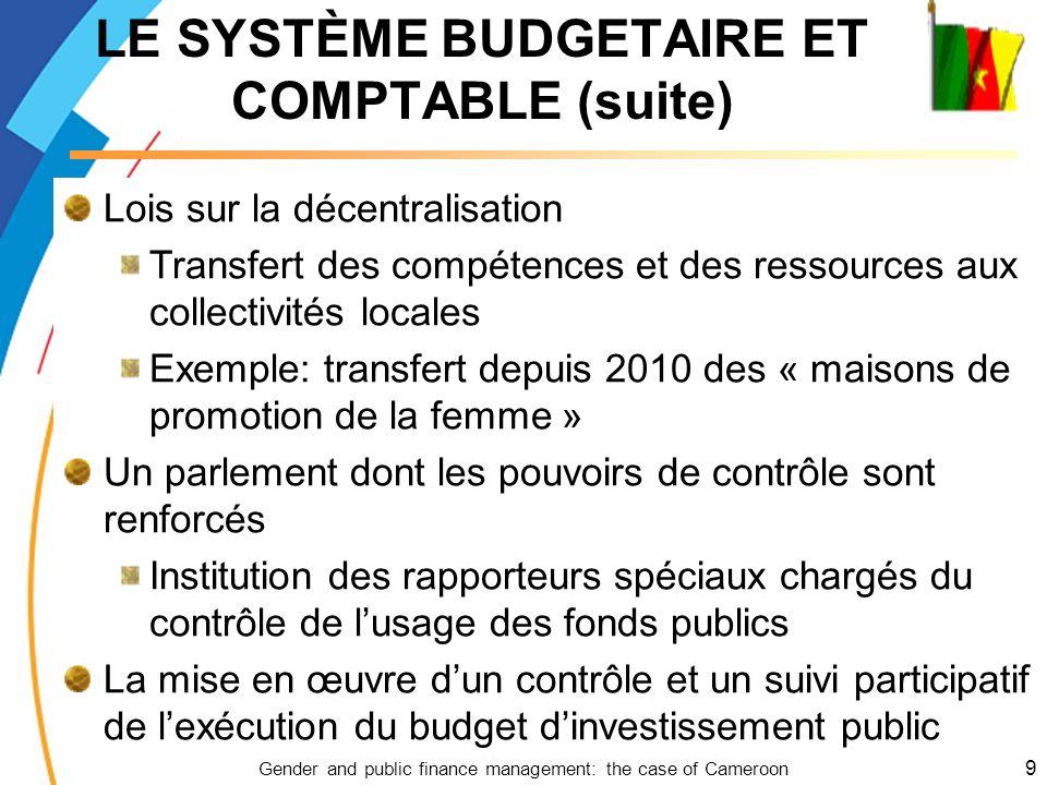 LE SYSTÈME BUDGETAIRE ET COMPTABLE (suite)