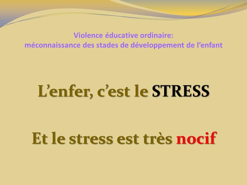 L'enfer, c'est le STRESS Et le stress est très nocif