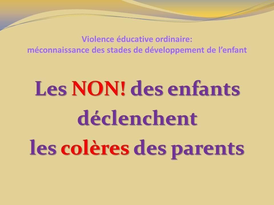 Les NON! des enfants déclenchent les colères des parents