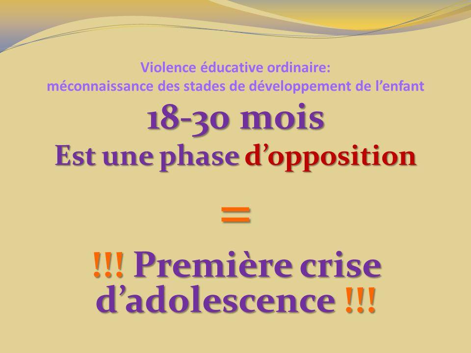 Est une phase d'opposition !!! Première crise d'adolescence !!!