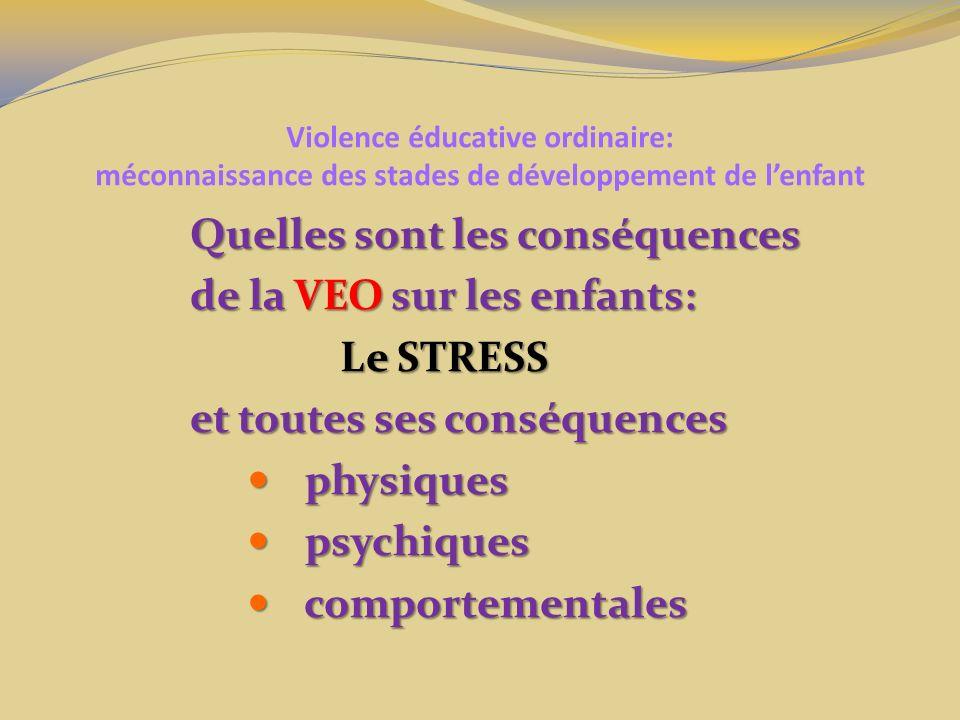 Quelles sont les conséquences de la VEO sur les enfants: Le STRESS