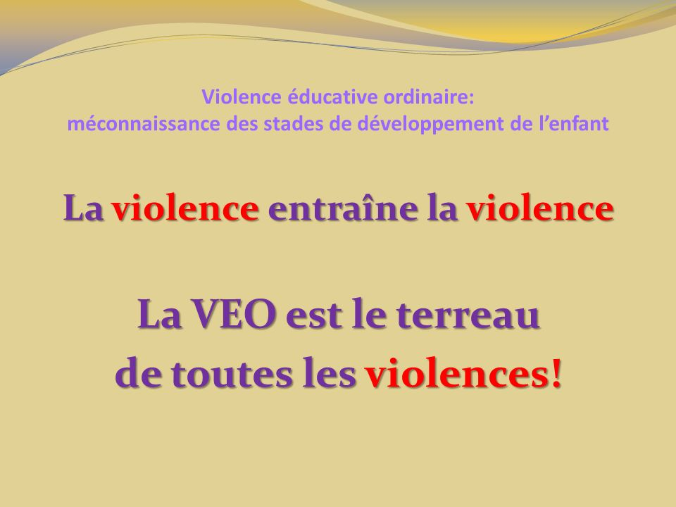 La violence entraîne la violence de toutes les violences!