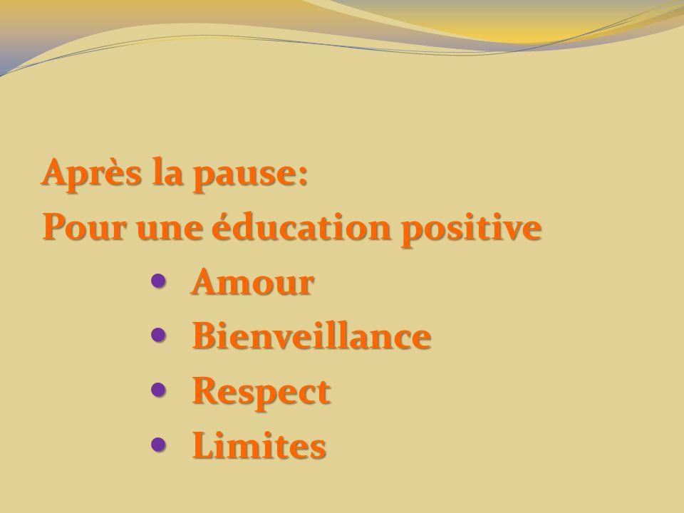 Après la pause: Pour une éducation positive Amour Bienveillance Respect Limites