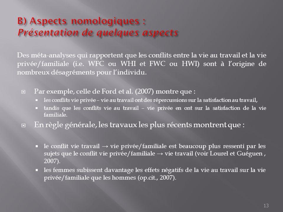 B) Aspects nomologiques : Présentation de quelques aspects