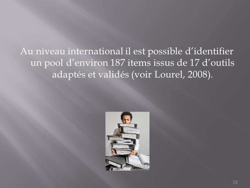 Au niveau international il est possible d'identifier un pool d'environ 187 items issus de 17 d'outils adaptés et validés (voir Lourel, 2008).