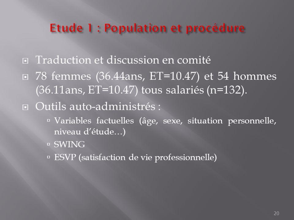 Etude 1 : Population et procédure