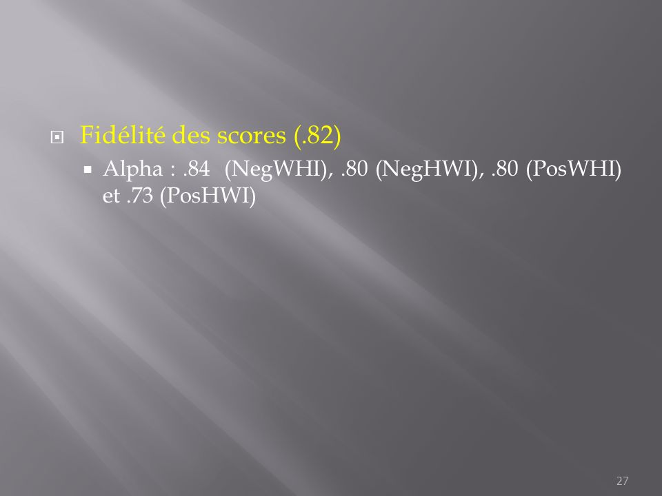 Fidélité des scores (.82) Alpha : .84 (NegWHI), .80 (NegHWI), .80 (PosWHI) et .73 (PosHWI)