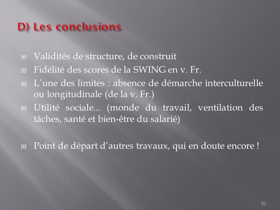 D) Les conclusions Validités de structure, de construit