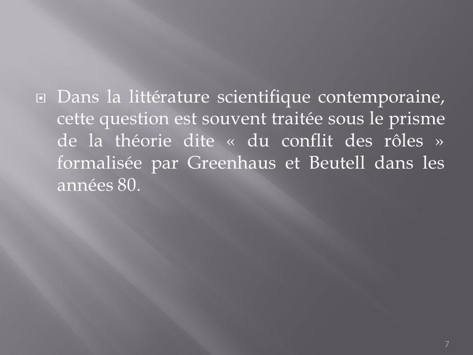 Dans la littérature scientifique contemporaine, cette question est souvent traitée sous le prisme de la théorie dite « du conflit des rôles » formalisée par Greenhaus et Beutell dans les années 80.