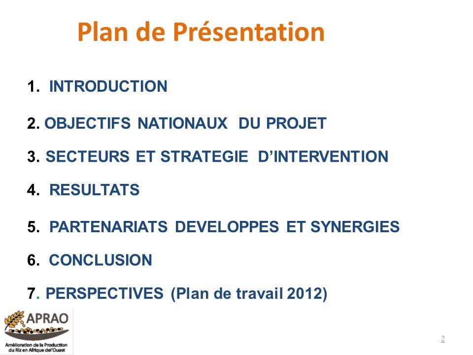 Plan de Présentation 1. INTRODUCTION 2. OBJECTIFS NATIONAUX DU PROJET