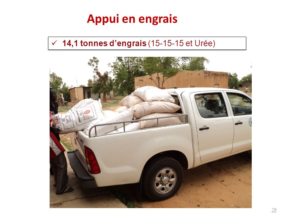 Appui en engrais 14,1 tonnes d'engrais (15-15-15 et Urée)
