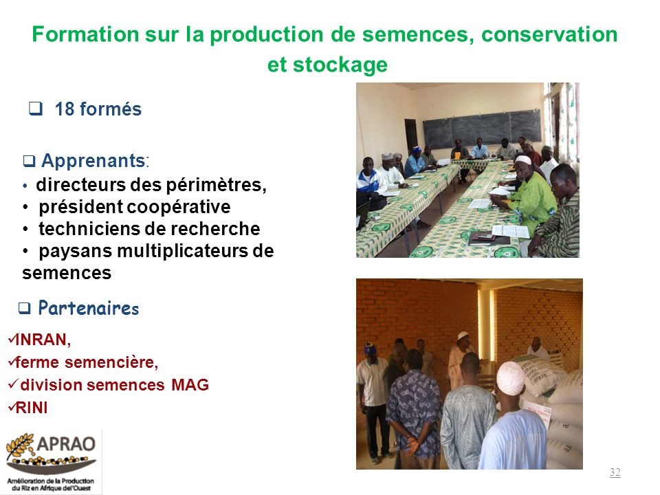 Formation sur la production de semences, conservation