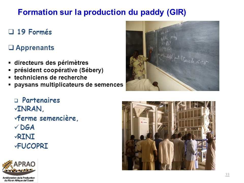 Formation sur la production du paddy (GIR)