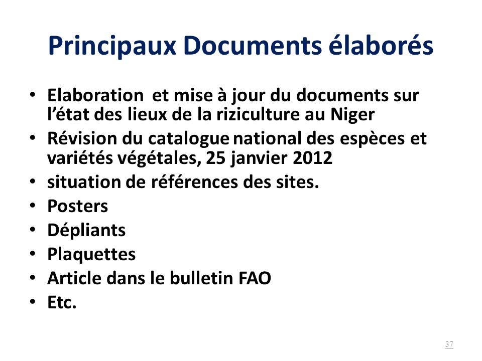 Principaux Documents élaborés