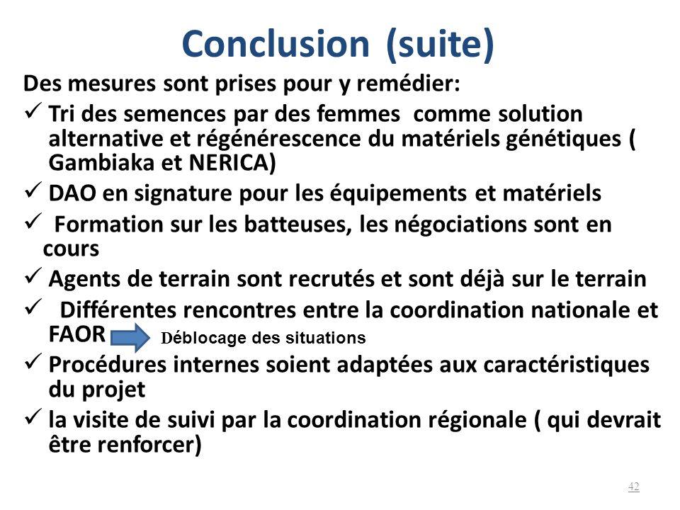 Conclusion (suite) Des mesures sont prises pour y remédier: