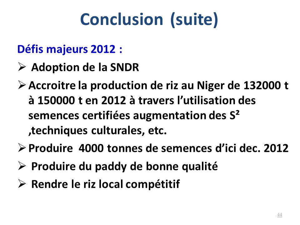Conclusion (suite) Défis majeurs 2012 : Adoption de la SNDR