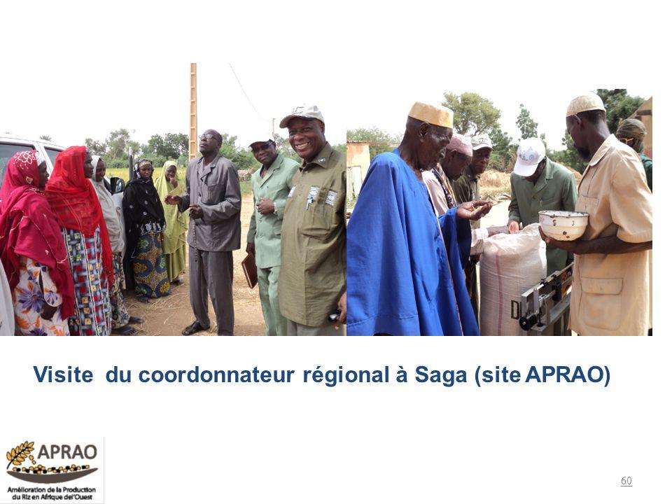 Visite du coordonnateur régional à Saga (site APRAO)