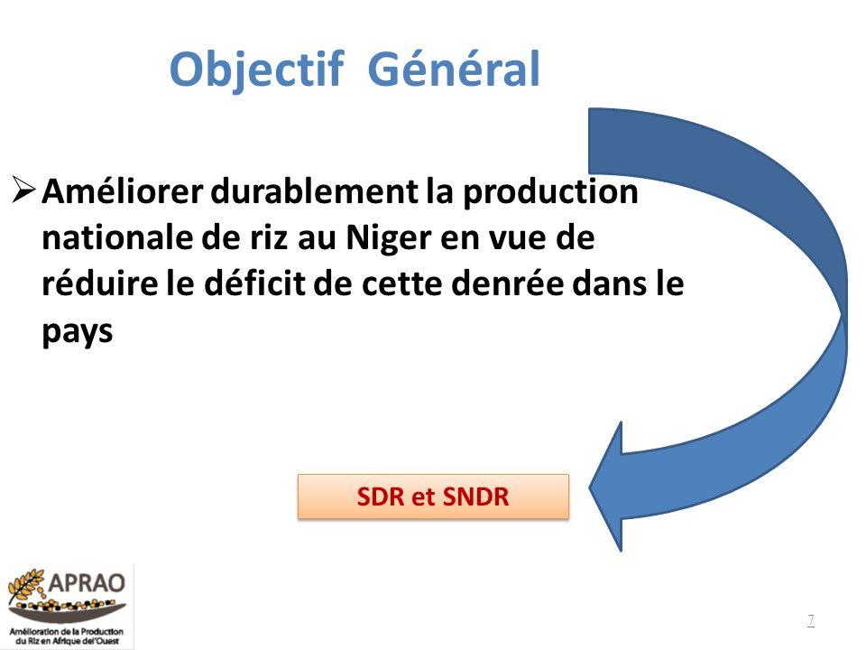 Objectif Général Améliorer durablement la production nationale de riz au Niger en vue de réduire le déficit de cette denrée dans le pays.